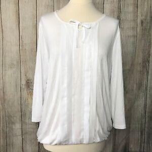 Fabulous White Tie-Neck SCOTTAGE T-Shirt Top Size 16 VGC