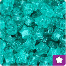 250 Teal Green Sparkle 13mm Star Pony Beads Made in the USA
