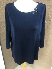 New $89 Chico's Travelers Empress Blue Navy Grommet Detail Top 3 = XL 16 18 NWT