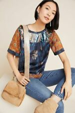 New Anthropologie Toulouse Sequined Eclectic Patterned Blouse Top Medium