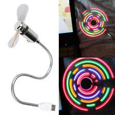 USB 2.0 Colorful 5 LED Flexible Gooseneck USB Desk Mini Fan Portable Fan Gadget