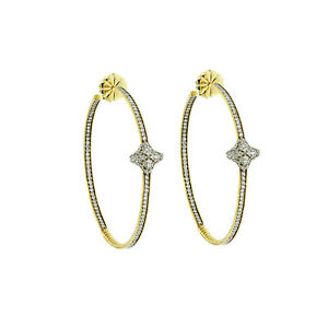 Auth David Yurman 18K Yellow Gold Diamond Quatrefoil Extra Large Hoop Earrings