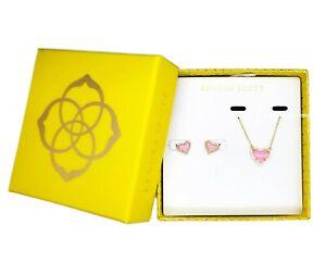 100% KENDRA SCOTT Gift Set Ari Heart Pink Opal Pendant Necklace + Stud Earrings