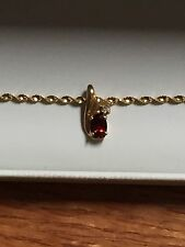 """14KT Gold Twisted 6.50"""" Chain Bracelet with 10K Gold Pendant with Ruby& Diamond"""
