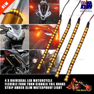 4x LED Motorcycle Flexible STRIP Fork Signal Tail Harley Suzuki Yamaha Honda KTM