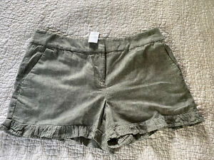 NEW Ann Taylor Loft Outlet  Green  Ruffled Shorts 4 inch Inseam