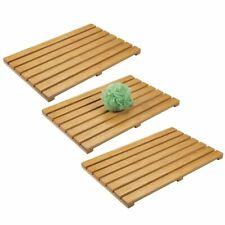 mDesign Bamboo Non-Slip Indoor/Outdoor Spa Bath Mat, 3 Pack - Natural Light Wood