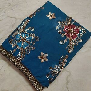 Indian Vintage Wedding Bridal Dupatta Sequins Scarf Beaded Georgette Veil Stole