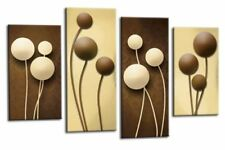 LARGE BROWN CREAM ABSTRACT CIRCLES FLORAL CANVAS PICTURES SPLIT MULTI PANELS 40""