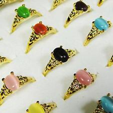 20pcs Multicolor opal gold plated rings wholesale jewellery lots free shipping