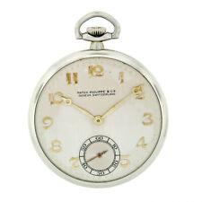 Vintage 1940's Patek Philippe 43.85mm 18K White Gold Open Face Pocket Watch
