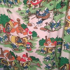 Smurfs Village Twin Flat Sheets Vintage Lot/2 Cutter Fabric Material Crafts Peyo