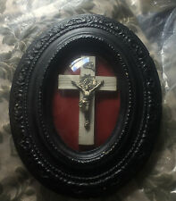 Antique Victorian Crucifix in Ornate Domed Glass Frame - Gothic Decor