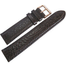 22mm Fluco Record Brown Buffalo-Grain Leather ROSE GOLD Buckle Watch Band Strap