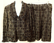 ST JOHN COLLECTION Womens Plaid Tweed Blazer Jacket Skirt Suit Set L XL 12 14