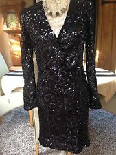 FRENCH CONNECTION FCUK SAMANTHA ALEXIS BLACK LONG SLEEVED SEQUIN DRESS 10 38