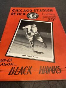 1960-61 CHICAGO BLACK HAWKS HOCKEY PROGRAM~RED WINGS (11/13/60)~PILOTE HOF COVER