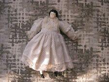 "Molded Head Doll 10"" Porcelain Black Hair Blue Eyes Cloth Body Original Clothes"