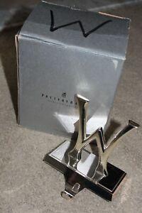 """Pottery Barn Letter """"W"""" Stocking Holder Silver Tone Christmas Mantle Hook Hanger"""