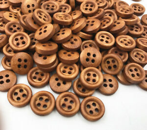 300X Wooden brown Buttons Sewing 4-holes Scrapbooking Round Button Crafts 12mm