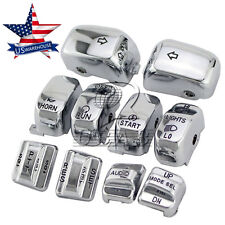Chrome Carved Hand Control Switch Cover Button Caps for Harley SOFTAIL FLHTC  US