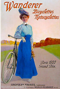 1900 Wanderer  Bicycle France French Nouveau Advertisement Travel Poster