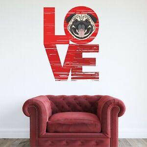 PUG WALL STICKER LOVE PET DOG decal art