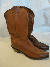 MENS LUCCHESE WESTERN COWBOY BOOTS BROWN LEATHER SIZE 9C