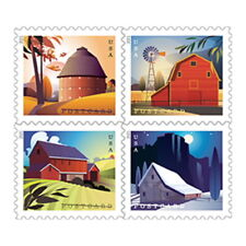 USPS New Barns Postcard Stamp Pane of 20