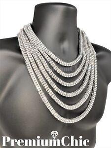 14k White Gold IP Tennis Chain Choker 2 ROW Lab Diamond Silver Necklace