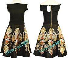 Ted Baker London Black Airlo Opulent Orient Bardot Dress Size 2 (US 6) $349