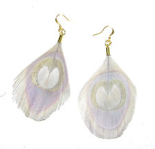 Grey Gold Trimmed Peacock Feather Earrings Drop Hook Vintage 1920s Flapper 899