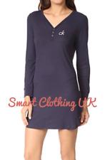Calvin Klein Women's Logo Loungewear/Nightdress Long Sleeve Navy (RRP £60)