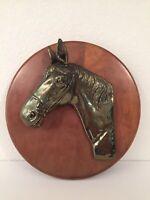 Vintage Bronze Brass Horse Head Bust On Wood Plaque Base