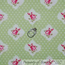 BonEful FABRIC Cotton Quilt Green White Pink Shabby Chic Rose Bud Flower L SCRAP