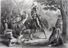 War of 1812 NATIVE SHAWNEE INDIAN CHIEF TECUMSEH ~ 1860 Art Print Engraving RARE