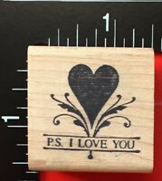 P.S I LOVE YOU Stamp Francisco Wood Mounted Rubber Stamp