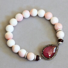 U&C Sundance Diamond Pave Pink Tourmaline Garnet Conch 925 Silver Bracelet