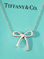 Tiffany & Co Sterling Silver Bow Pendant Necklace