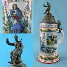 New listing Antique German Germany Ww1 Military Regimental Porcelain Lidded Beer Stein Mug 9