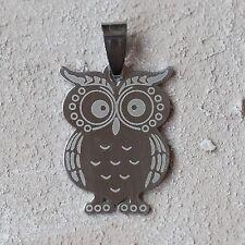 NUOVO 3,5cm rimorchio in acciaio inox con gufo gufo owl colore argento ciondolo in acciaio inox