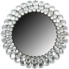 Large Round Clear Gemstone Elegant Crystal Accented Wall Mirror Home Decor