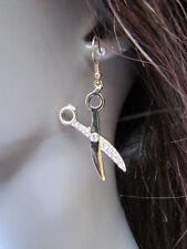 New Women Gold Earrings Fashion Mini Scissors Hair Stylist Metal Hook Rhinestone