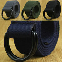 Military Canvas Web Belt Double D-ring Buckle Men Women Fashion Gift Unisex D2R9