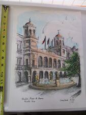"Christinne Jeffs Color Art Print Alcaldia, Plaza De Armas, Puerto Rico 15"" x 11"""