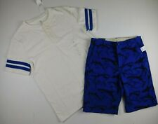 NWT Gap Boy's 2 Pc Outfit Henley T-Shirt & Adjustable Waist Shark Shorts XXL 14