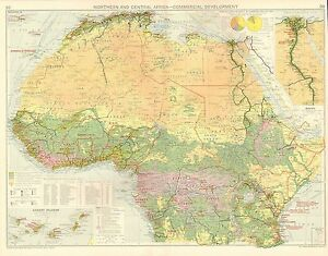 1928 MAP ~ NORTHERN & CENTRAL AFRICA COMMERICAL DEVELOPMENT FOREIGN TRADE EGYPT