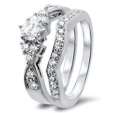 VS 0.99ct Round Diamonds Engagement & Wedding Ring Bridal Set,18K White Gold