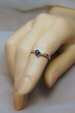 14k blue Spinel & Diamond .28ct Solitaire Ring Size 6