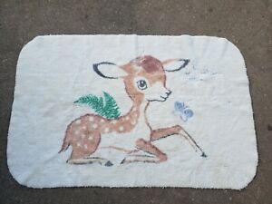 Vintage 1960s Baby Deer Fawn Rug, RARE